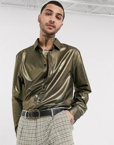 Złota koszula Asos z długim rękawem