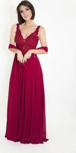 Czerwona sukienka Marcelini z tiulu na ramiączkach