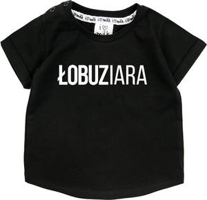 Czarna koszulka dziecięca ilovemilk.pl z bawełny
