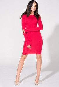 Czerwona sukienka Tessita z długim rękawem bodycon