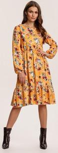 Żółta sukienka Renee z okrągłym dekoltem
