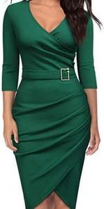 Zielona sukienka Cikelly z dekoltem w kształcie litery v ołówkowa
