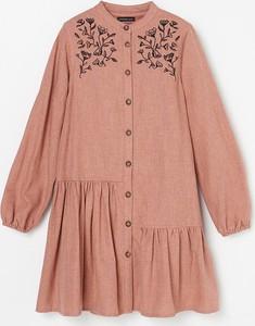 Różowa sukienka dziewczęca Reserved z bawełny w kwiatki