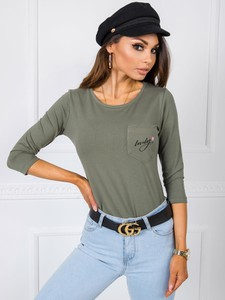 Zielona bluzka Sheandher.pl z bawełny w stylu casual z długim rękawem