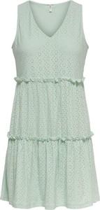 Zielona sukienka Only mini w stylu casual z dekoltem w kształcie litery v