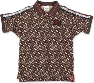 Brązowa koszulka dziecięca Burberry z bawełny