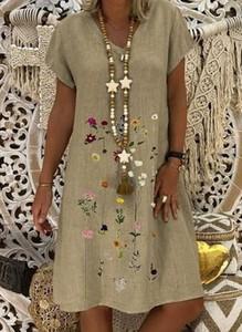 Brązowa sukienka Cikelly mini w stylu casual