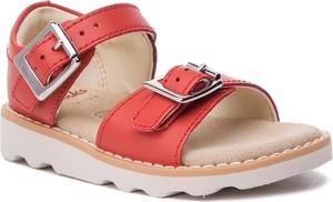 Czerwone buty dziecięce letnie Clarks ze skóry