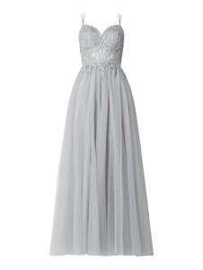 Srebrna sukienka Luxuar z dekoltem w kształcie litery v z tiulu rozkloszowana