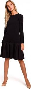 Czarna sukienka MOE z bawełny z okrągłym dekoltem