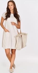 Sukienka butikjola.pl z krótkim rękawem z okrągłym dekoltem