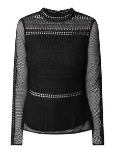 Czarna bluzka Tigha z okrągłym dekoltem z długim rękawem