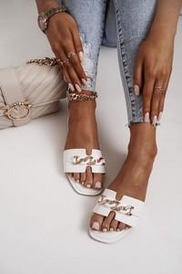 Klapki Shopaholics Dream w stylu casual ze skóry z płaską podeszwą