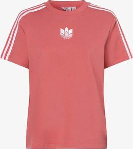 Różowy t-shirt Adidas Originals z okrągłym dekoltem z krótkim rękawem