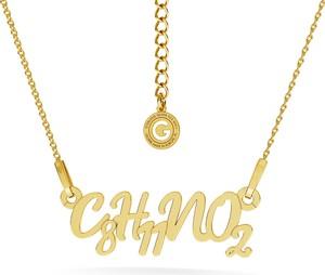 GIORRE Srebrny naszyjnik DOPAMINA, wzór chemiczny 925 : Kolor pokrycia srebra - Pokrycie Żółtym 24K Złotem