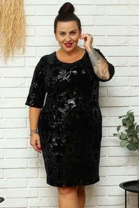 Sukienka KARKO z okrągłym dekoltem mini wyszczuplająca