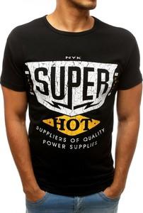 Czarny t-shirt Dstreet z bawełny z krótkim rękawem z nadrukiem