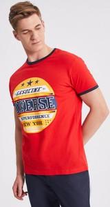 Czerwony t-shirt Diverse z krótkim rękawem
