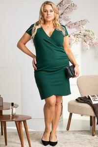 Zielona sukienka KARKO z krótkim rękawem kopertowa