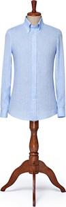 Niebieska koszula LANCERTO z lnu z kołnierzykiem button down z długim rękawem