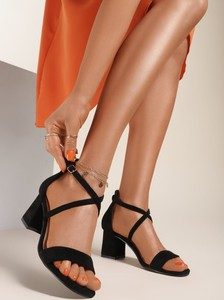 Czarne sandały Renee ze skóry z klamrami