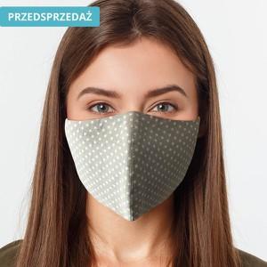 UlubionaMaseczka.pl Damska maseczka ochronna wielorazowa ergonomiczny kształt 100% bawełny jasnoszara w białe groszki Ona