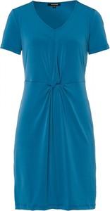 Niebieska sukienka More & More z dekoltem w kształcie litery v mini z krótkim rękawem