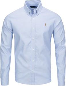 Niebieska koszula Ralph Lauren z długim rękawem z bawełny