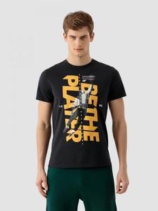 Czarny t-shirt 4F w młodzieżowym stylu z bawełny z krótkim rękawem