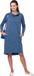 Niebieska sukienka Look made with love z długim rękawem