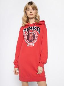 Czerwona sukienka Pinko z długim rękawem mini