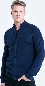 Granatowy sweter Big Star z bawełny ze stójką
