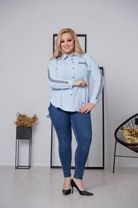 Niebieska koszula tono.sklep.pl z długim rękawem z kołnierzykiem