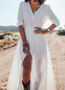 Sukienka Cikelly w stylu boho z dekoltem w kształcie litery v z długim rękawem
