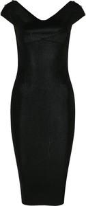 Czarna sukienka Versace Jeans z krótkim rękawem z dekoltem w kształcie litery v z odkrytymi ramionami