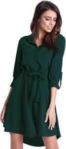 Zielona sukienka Ivon mini z tkaniny koszulowa