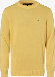 Żółty sweter Tommy Hilfiger z okrągłym dekoltem w stylu casual