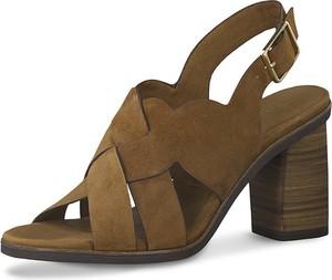 Sandały Tamaris ze skóry z klamrami
