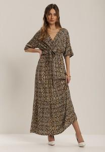 Granatowa sukienka Renee z dekoltem w kształcie litery v z długim rękawem