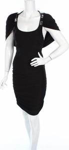 Czarna sukienka In Style Fashion z okrągłym dekoltem w stylu casual z krótkim rękawem