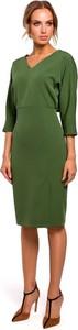 Zielona sukienka Merg z długim rękawem z dekoltem w kształcie litery v