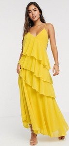 Żółta sukienka Forever U z dekoltem w kształcie litery v na ramiączkach