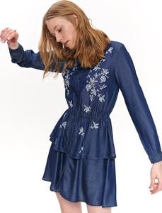 Sukienka Top Secret z długim rękawem z kołnierzykiem mini