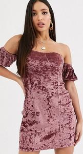 Różowa sukienka Asos z krótkim rękawem mini