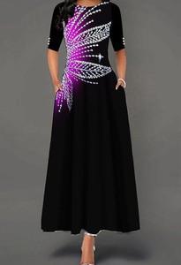 Sukienka Kendallme maxi z krótkim rękawem z okrągłym dekoltem
