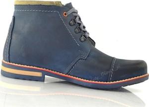 Granatowe buty zimowe butyolivier.pl sznurowane ze skóry