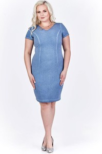 Niebieska sukienka Fokus z krótkim rękawem midi z dekoltem w kształcie litery v