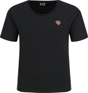 Czarny t-shirt EA7 Emporio Armani z nadrukiem w stylu casual z krótkim rękawem