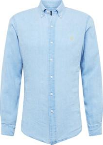 Niebieska koszula POLO RALPH LAUREN z kołnierzykiem button down z tkaniny