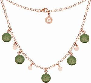 GIORRE SREBRNY NASZYJNIK CHOKER Z KOLOROWĄ ŻYWICĄ, SREBRO 925 : Kolor pokrycia srebra - Pokrycie Różowym 18K Złotem , Kolor żywicy - zielony